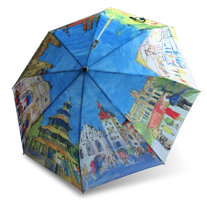 Hand-made Umbrellas European Countries Oil Painting Umbrella three Folding Woman Anti-uv Sun/Rain Automatic Umbrella Gift
