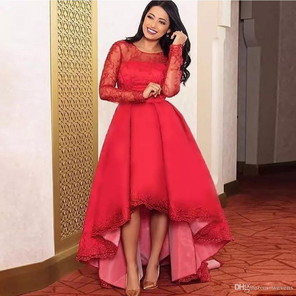 Plus Size High Low Prom Dresses Scoop Neck Full Sleeve Lace And Satin  Formal Gown Custom Made Abric Evening Wear Camille Prom Dresses Cheap Ball  Gown ...