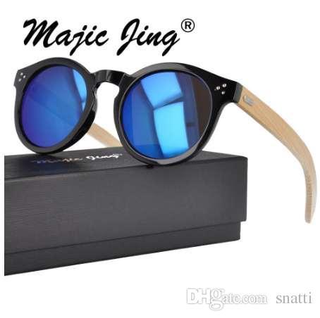 Sombrilla de gafas de sol redondas Magic Jing con lente de templo de bambú UV400 para mujeres WPB4023