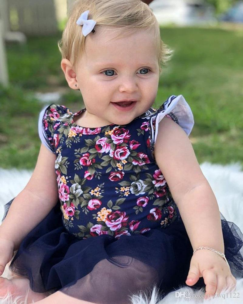2018 Baby Girls Dresses INS New Floral Tulle Princess Dress + Headband 2 pcs Fashion Summer Girn Lace Elasticity Flower Frocks Free Shipping