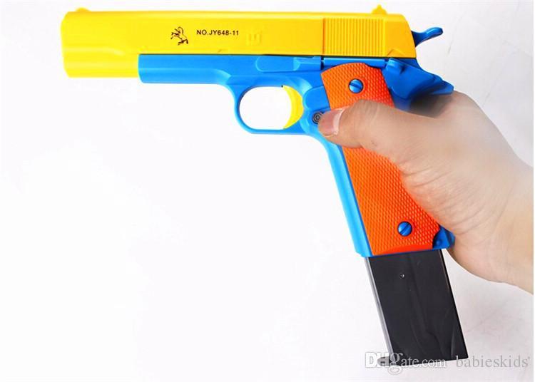 새로운 패션 클래식 M1911 완구 모 제르 권총 아동 장난감 총 소프트 총알 총 플라스틱 리볼버 아이 재미 야외 게임 슈터 안전