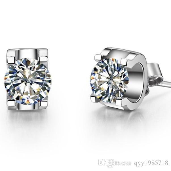 Toptan 0.5Ct / Adet Gümüş Takı Küpe Damızlık Hakiki Sentetik Diamonds Damızlık Solitaire Küpe Beyaz Altın Renk Takı