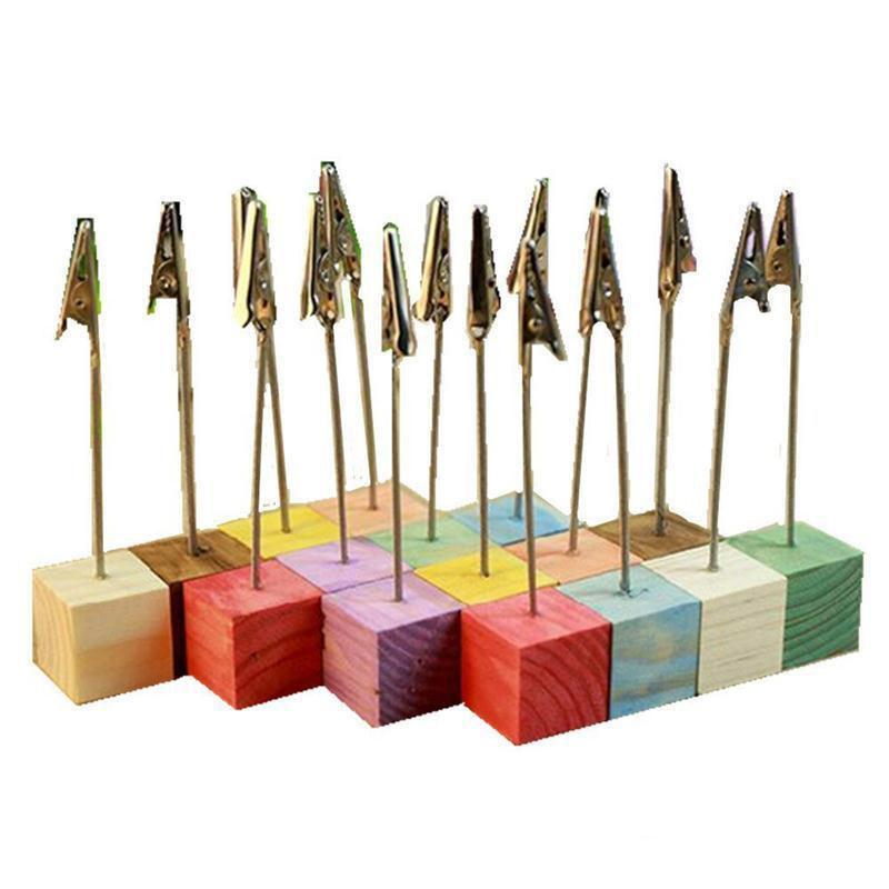 Free shipping 16pcs/set Pine Base Photo Holder Stand Card Note Desk Memo Clip Place Card Holder Wedding Table Decoration Favors