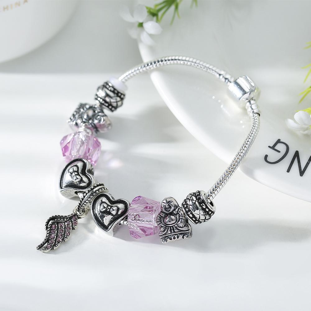 0bcc49b92 SPINNER Luckly Religion DIY Charm Bracelet Maitreya Angel Wings Pendant  Pandora Bracelet for Women Jewelry Gift