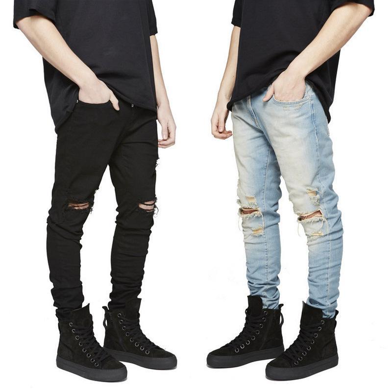 Qmgood hombres calientes de la venta jeans ajustados agujero grande en los pantalones hasta la rodilla tobillo cremallera hip hop negro arrancó la motocicleta del motorista 2018 Nuevo