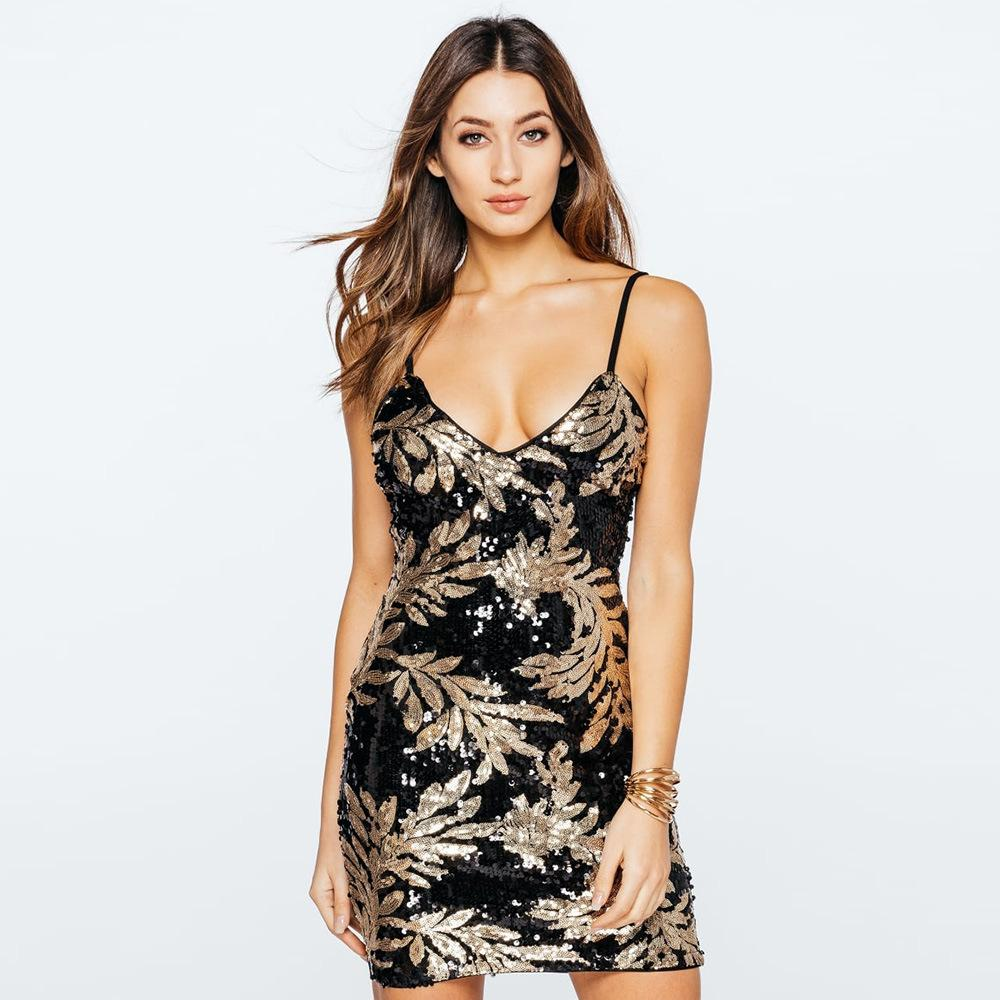 Europäisches und amerikanisches neues Nachthemd, Kleid des kurzen Rockes, tiefer V reizvoller Riemen, Paillettenkleid, weibliches F1748