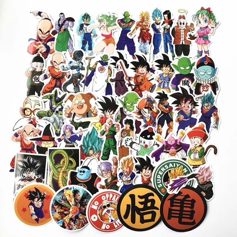 50 pcs / pack Dragon Ball Anime Autocollant Pour Voiture Ordinateur Portable Skateboard Pad Vélo Moto PS4 Téléphone Decal Pvc Autocollants