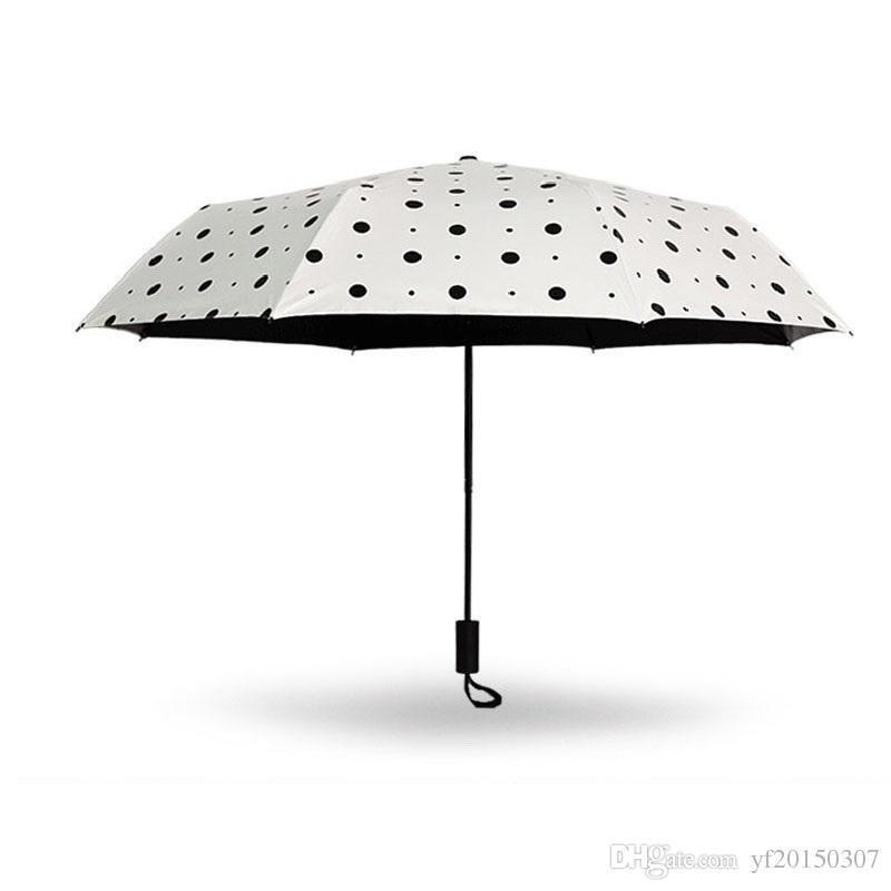 Siyah Nokta Renk Şemsiye 3 Katlanır Yağmur Geçirmez Şemsiye Kadınlar Açık Seyahat için Yağmur Dişli Güneşlik Şemsiye