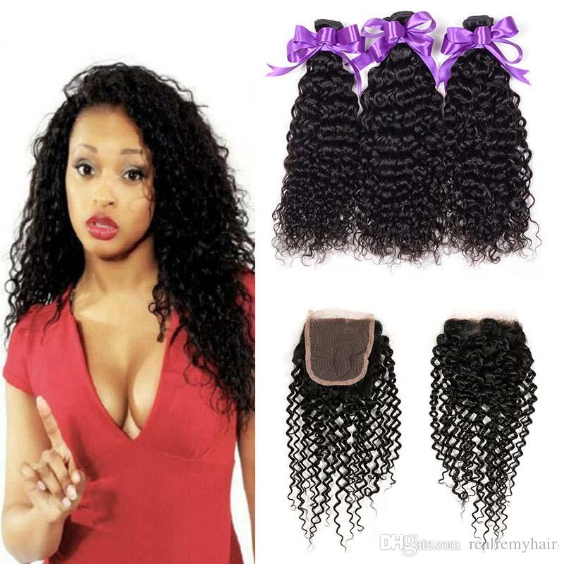 Brazilian Kinky Curly Human Hair 3 Bundles With 4x4 Lace Closure Cheap Brazilian Curly Virgin Human Hair Weave Extensions With Closure