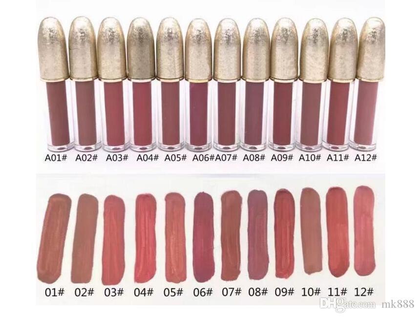 O ENVIO GRATUITO de Alta qualidade NOVA Marca Fosco Lustroso Shipping Lustre Lipgloss Retro Fosco Lipgloss Esmalte Lipgloss 12 Cores Diferentes
