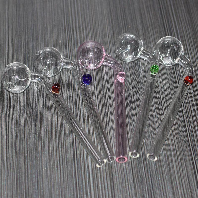 Brûleurs à huile en verre incurvé de 5,5 pouces Tuyaux d'eau en verre de bong avec un équilibreur de verre coloré différent pour fumer
