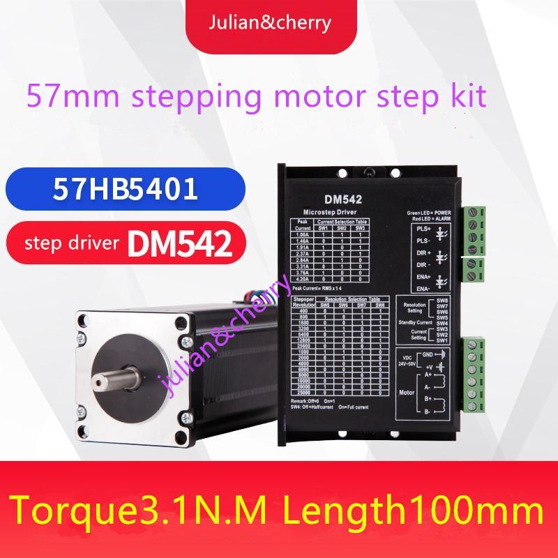 57 step kit 57HB5401 torque 3.1Nm length99.5mm+DM542 DC24~50V,1.0A~4.2A Stepper motor driver