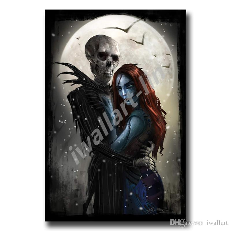 Tim Burton Nightmare Before Christmas Artwork.2019 Jack And Sally Tim Burton Nightmare Before Christmas Posters Canvas Painting Oil Framed Wall Art Print Pictures For Living Room Home Decor From