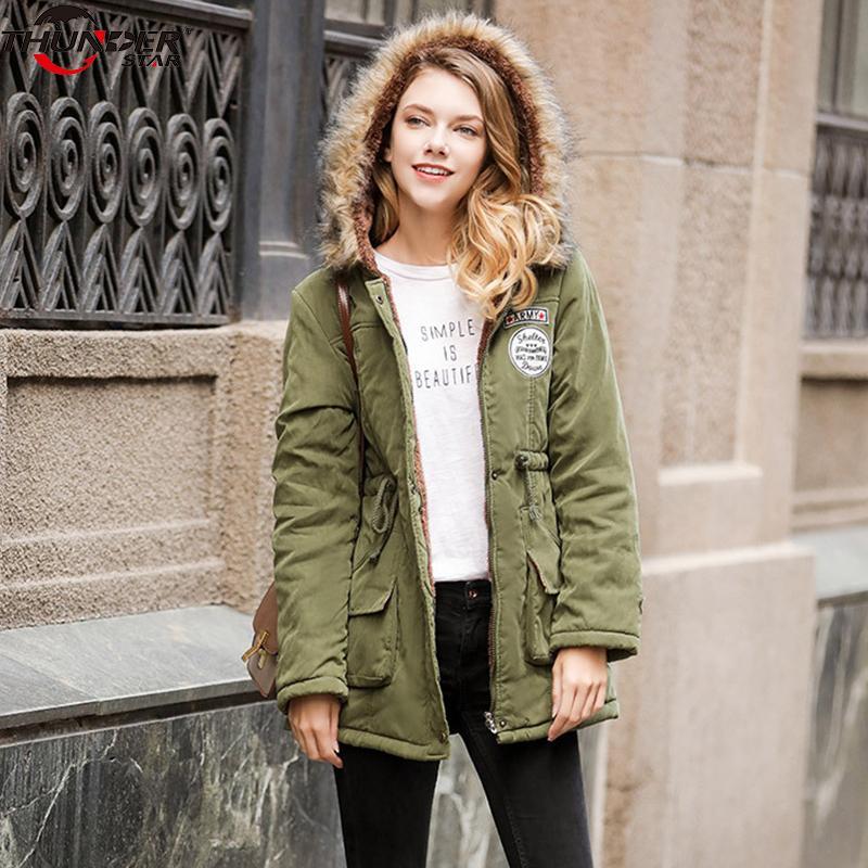 Winterjacke Frauen mit Kapuze dicke warme Wolle Liner Pelzkragen Parkas weibliche 2018 neue feste dünne lange wadded Mantel Outwear plus Größe