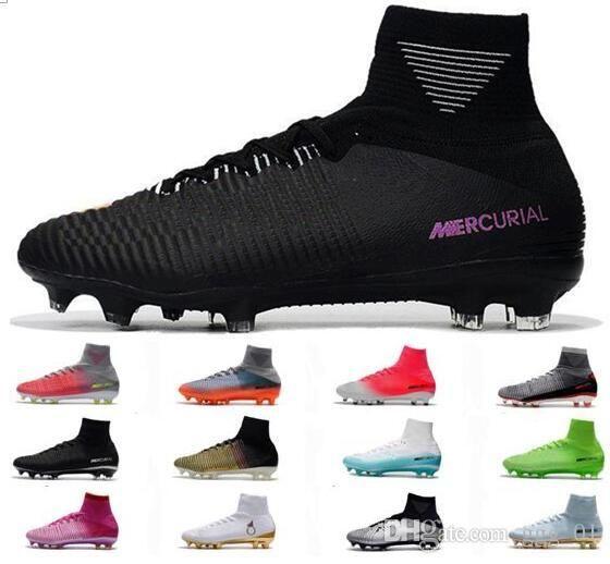 جديد Mercurial Superfly V CR7 FG رجل أحمر رمادي أحذية كرة القدم كريستيانو رونالدو أحذية كرة القدم ذكر Mercurial Champions ACC الرجال أحذية كرة القدم