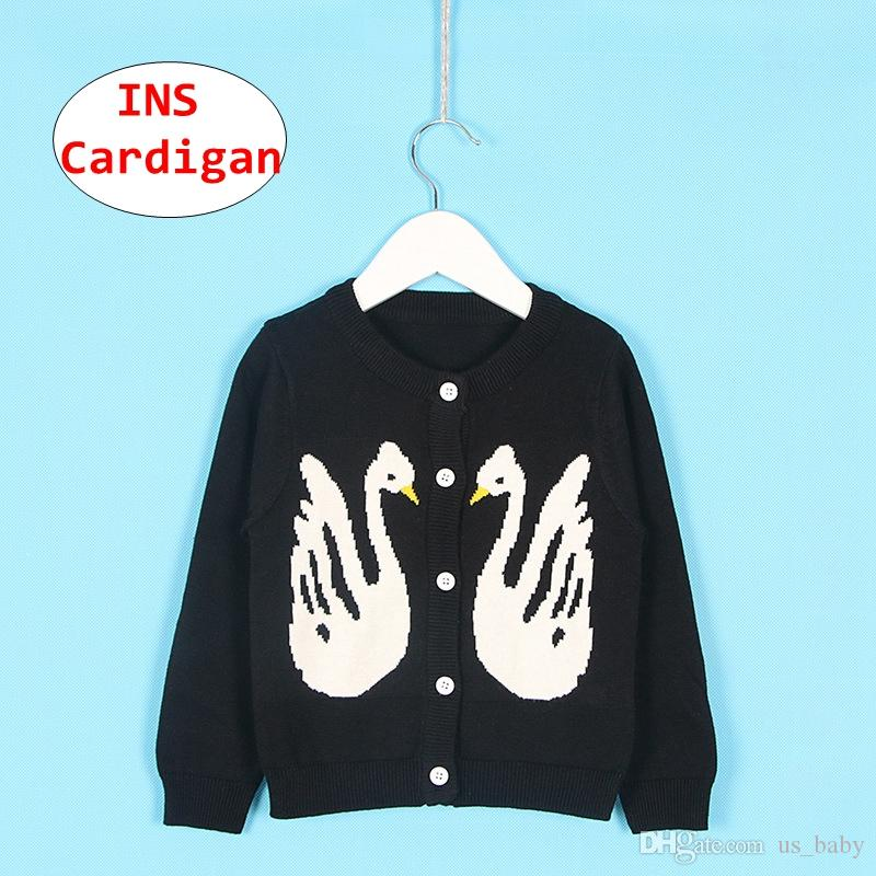 Baby Girls 1-6T Cute Swan Crew Neck Button-down Cotton Knits Cardigan Sweaters Sweatshirt Coat Jacket Outerwear