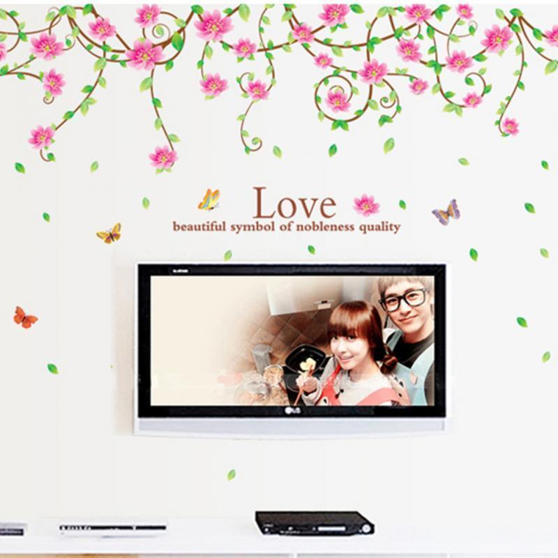 로맨틱 꽃 덩굴 벽 스티커 홈 장식 비닐 아트 홈 룸 장식 대형 벽 스티커