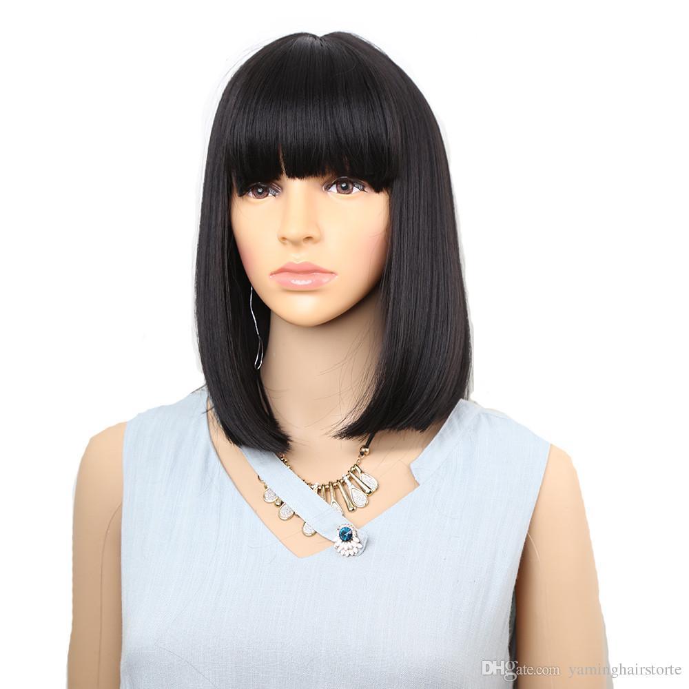 스트레이트 블랙 합성 가발 앞머리 여성 중간 길이 머리 밥 가발 내열 보보 헤어 스타일 코스프레 가발
