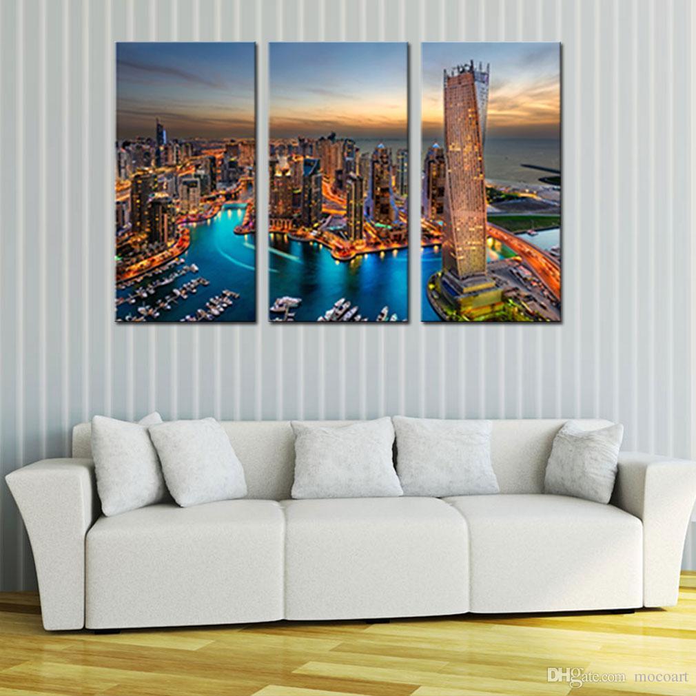 3 Pezzi Quadro Quadri Città del paesaggio della parete di arte colorate Nightscape Dubai Stampa su tela di canapa per Modern Home Decor senza cornice Gifts