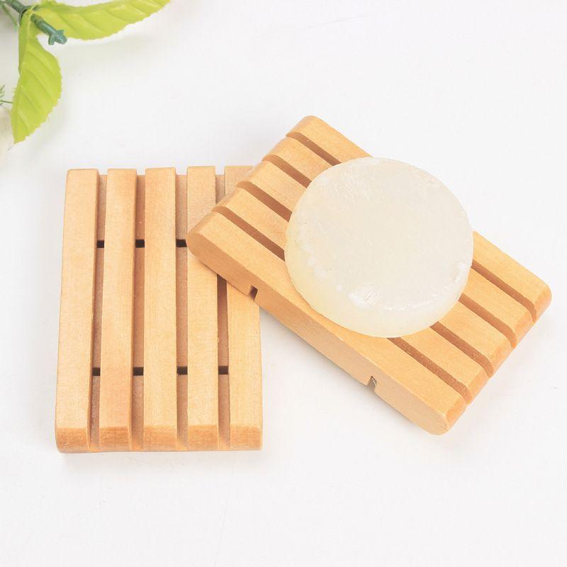 Naturalny Drewniany Uchwyt Tacy Soap Soap Blat Box Container Drewniane mydło Dish Akcesoria łazienkowe Wen7056