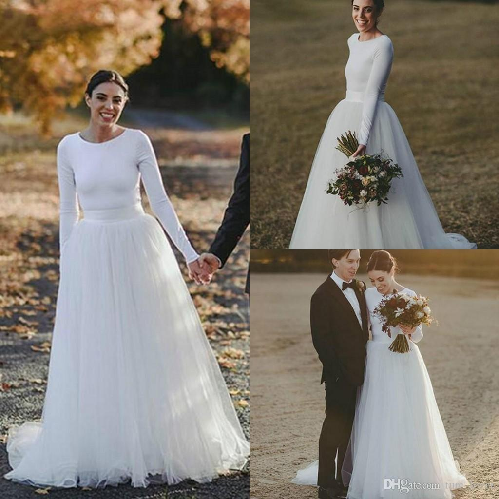 Discount Simple Spring Garden Long Sleeve Wedding Dresses 2018 Tulle Plus  Size Boho Bohemian Country Style Western A Line Bridal Gowns Vestios Ball  ...