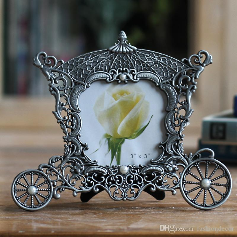 Metallweinlesebilderrahmen klassisches Bildfotorahmen kleine Europa-Artantike Minifoto gestaltet Hauptdekor