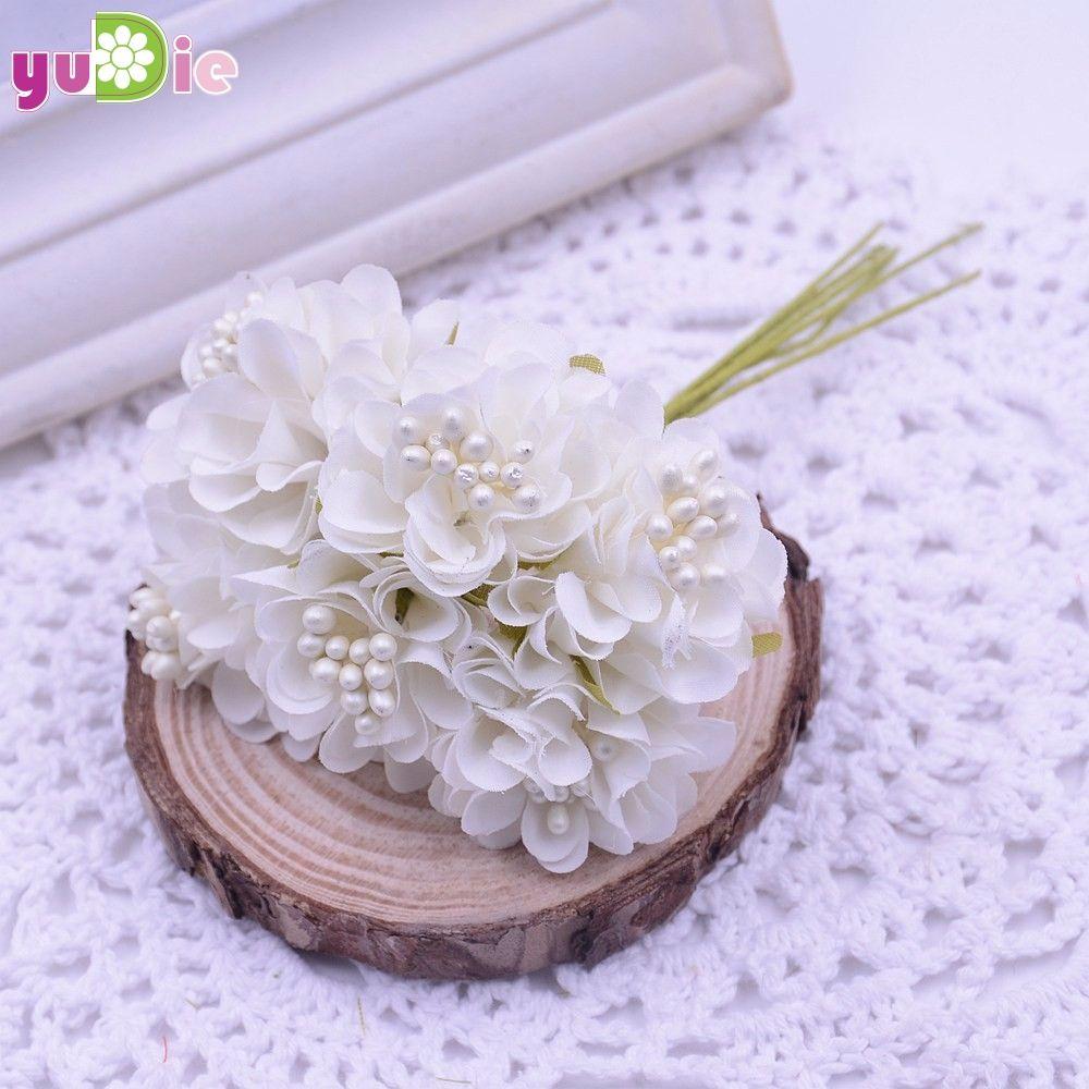 120 unids / lote mini seda artificial ramo de rosas decoración de la boda flor falsa para diy scrapbooking flor bola decoración del hogar