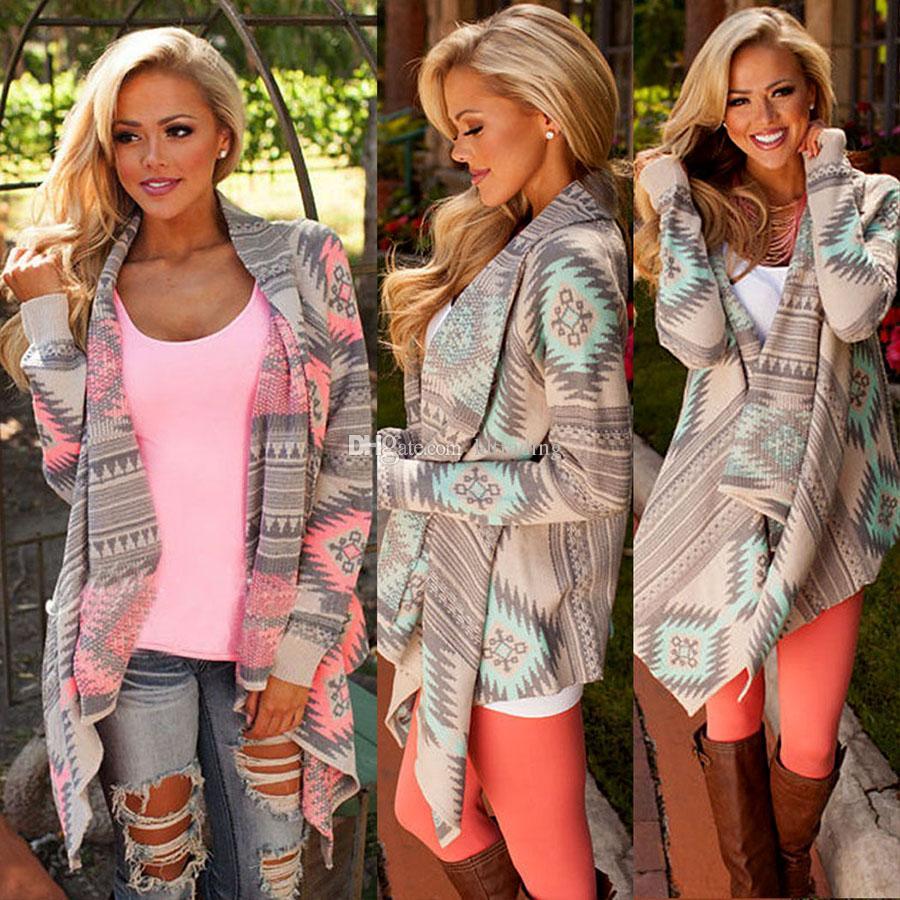 Женщины Повседневная верхняя одежда вязаный кардиган свитер пальто асимметричный геометрический принт куртки длинная рубашка Мыс C5357