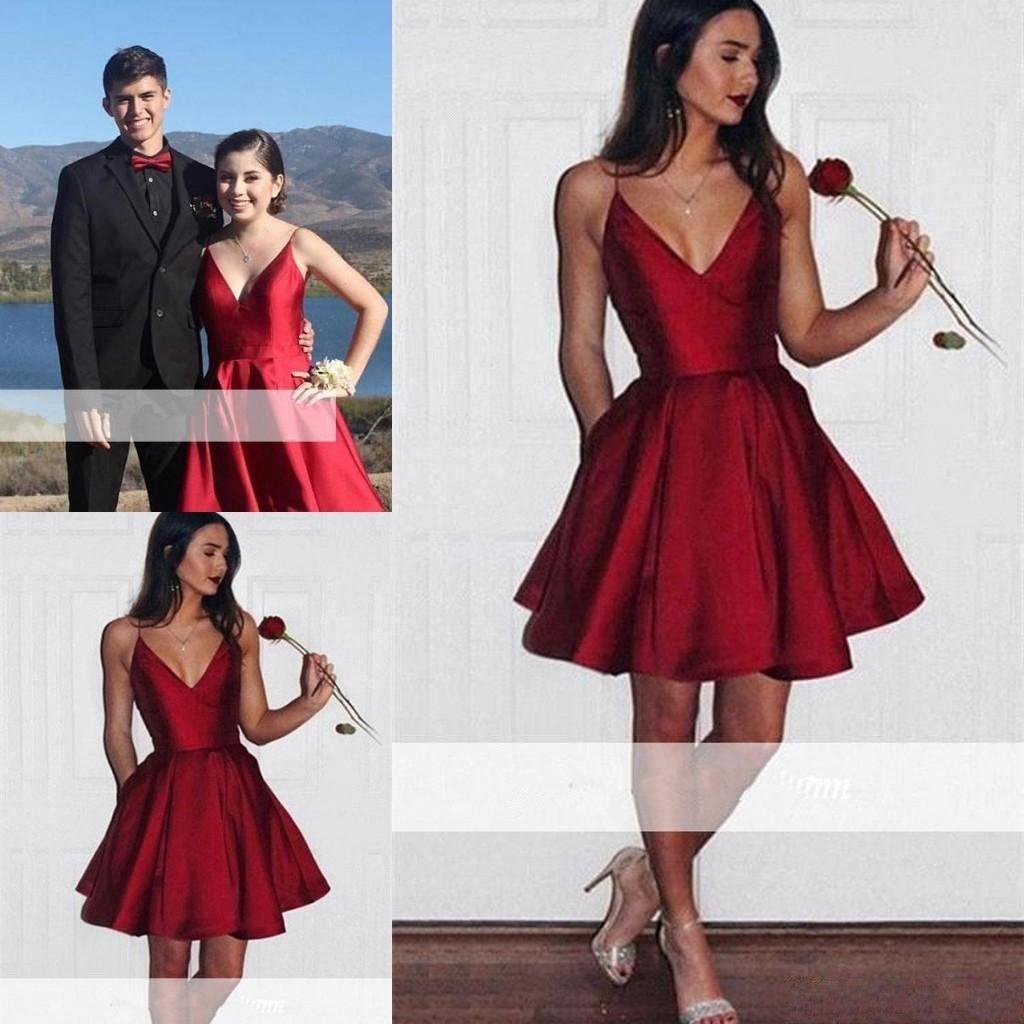 New Short Dark Red Satin Homecoming Dresses V-neck Spaghetti Straps Mini Cocktail Party Dress with Pockets BA6907