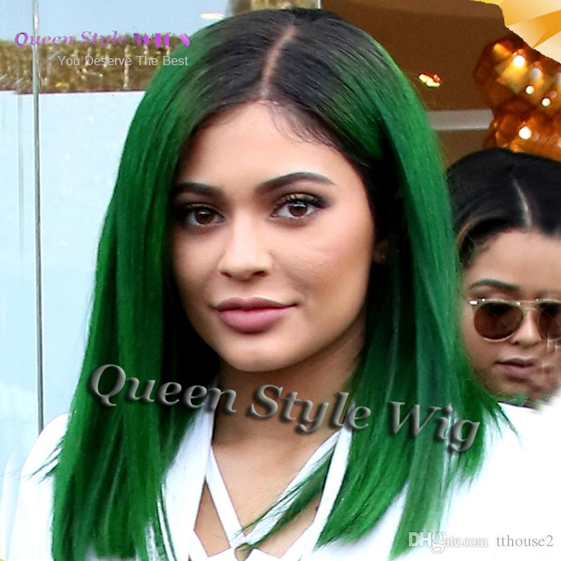 Synthetic Heat Resistant Short Two Tone Black Teal jade green Color Hair Lace Front Wig Celebrity Kylie Jenner Green Hair Wigs pelucas