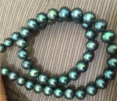 Оптовая 9-10мм Южного моря павлин зеленый жемчужное ожерелье 18 дюймов 14k золото застежка