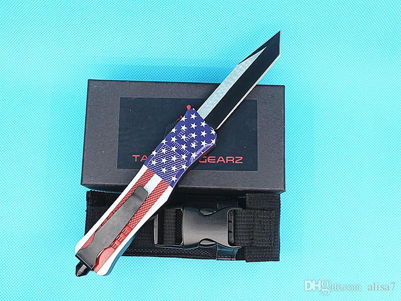 EUA bandeira 616 grande auto faca tática 440c lâmina de zinco liga de alumínio liga de alumínio ao ar livre sobrevivência tático facas de engrenagem 8 lâminas de estilo optines