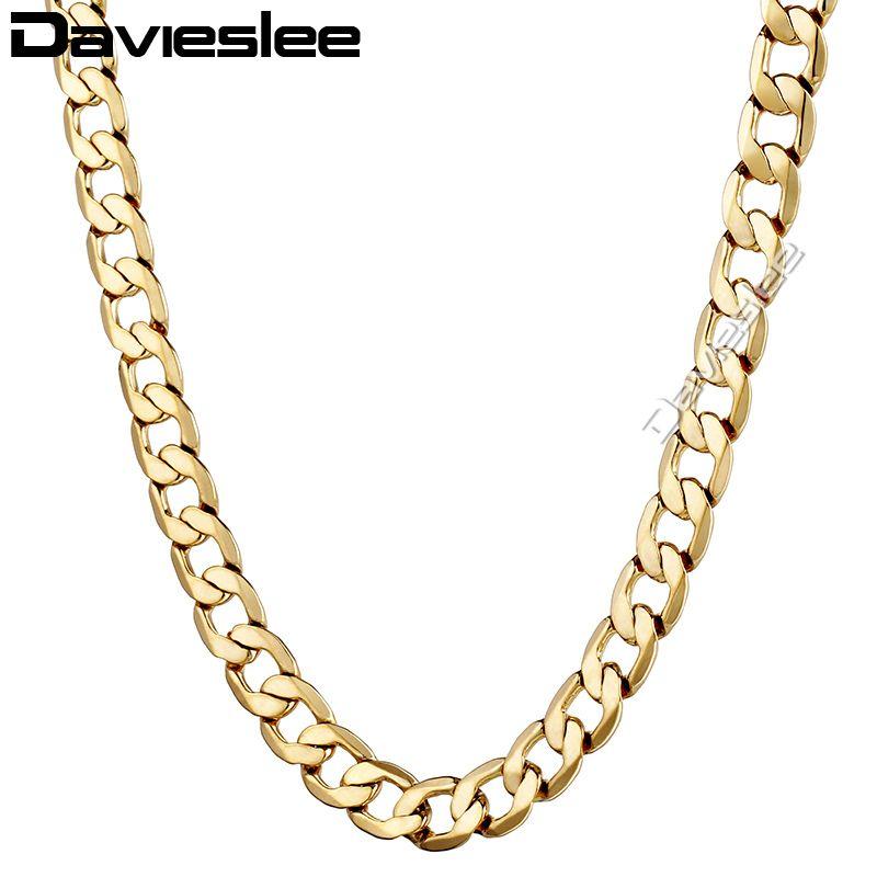 Intera venditaDavieslee Womens Mens Collana Gold Filled Chain Curb Link Personalizza Fashion Jewelry 4 / 10mm LGNM48
