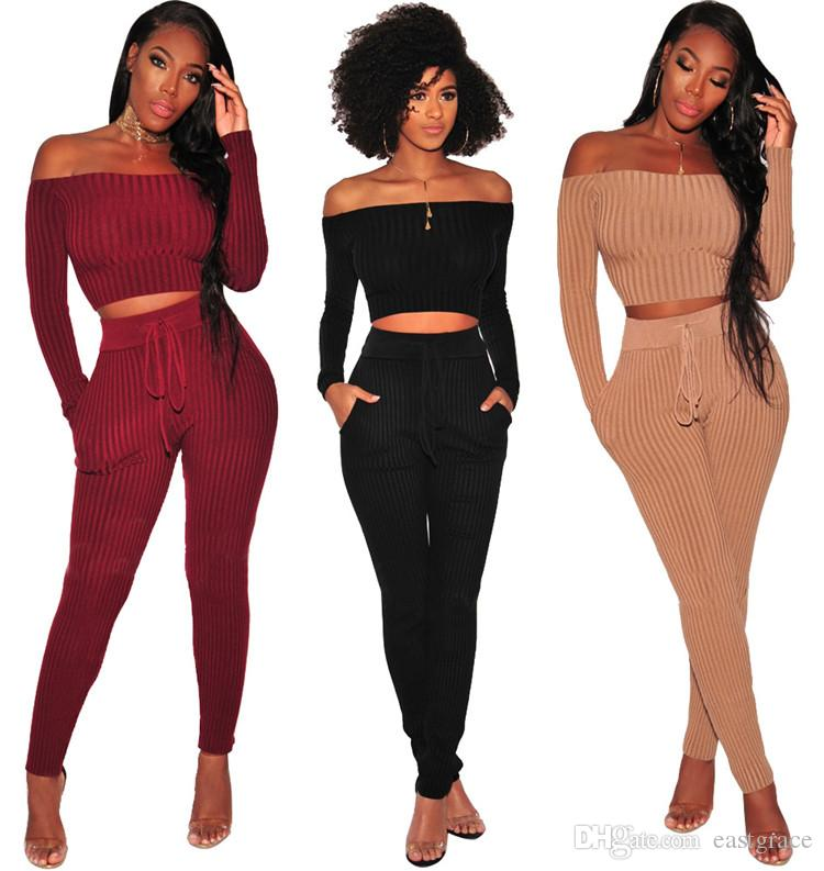 2019 2019 Spring Women Slash Neck Clothes Two Piece Set Fashion Strapless  Style Slim Tracksuit Female Sportive Outfit Suit Women Sweatsuit From
