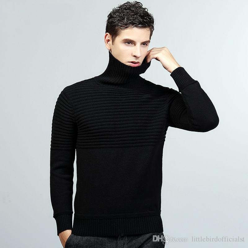Blusas homens tartaruga pescoço listrado padrão de algodão masculino pullover dress homens camisola outono inverno preto azul cinza jersey