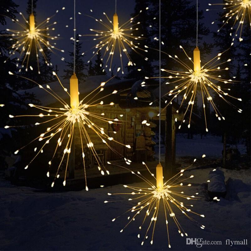 Battery Operated Decorative Led Lights 180led Firework Shaped Copper wire Led String Light with Remote Control for Christmas Garden Wedding