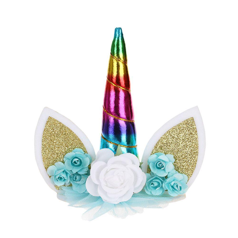 1 PC Ouro Prata Rosa Unicorn Chifres Bolo Topper Crianças Birthday Cake Decoração Favores Do Partido de Aniversário Decoração Fontes Do Evento