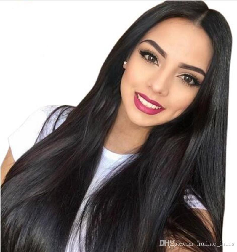 Long straight natural looking hair glueless lace front wi& full hair lace wig for african americans woman 8-28 inch Human Hair