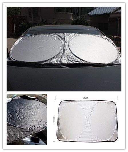 2PCS Car Sunshade Front Rear Windshield Window Foldable Sun Shade Shield Sun Visor UV Block Auto Sun Visor Windshield Block Cover