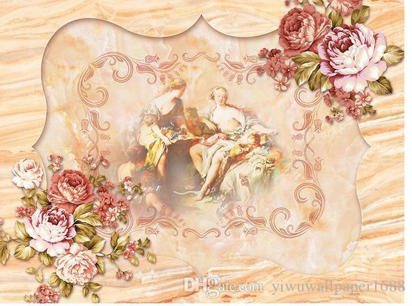 Personnalisé toute taille Royal Court Rose murale de style européen 3d peintures murales de papier peint pour le salon