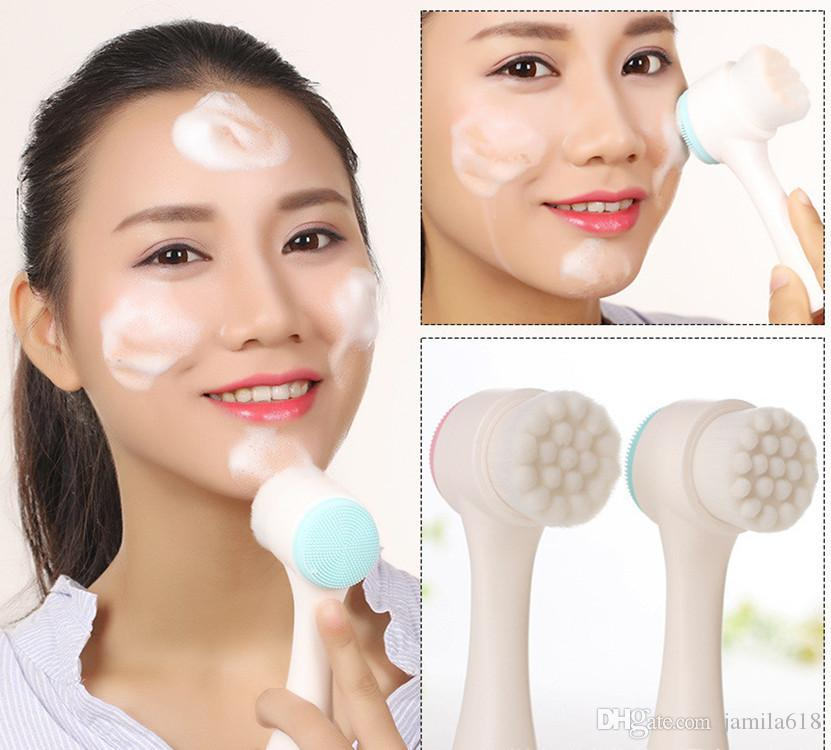 Beauty Care face massager deep cleansing tool Facial Brush Face Spa Skin Cleansing Brush silicone double cleaner brush Cleaning Makeup Tool