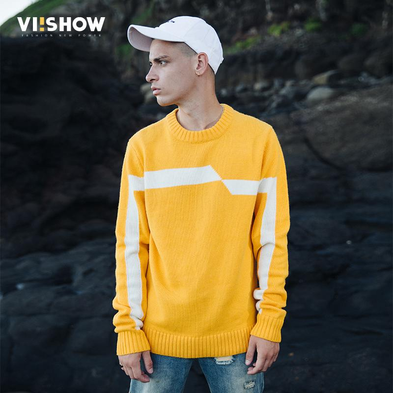 VIISHOW 2017 New Sweaters Men Brand Clothing Fashion Mens Pullover Quality  Yellow White Striped Knitted Sweater Male ZC2314173 Canada 2019 From