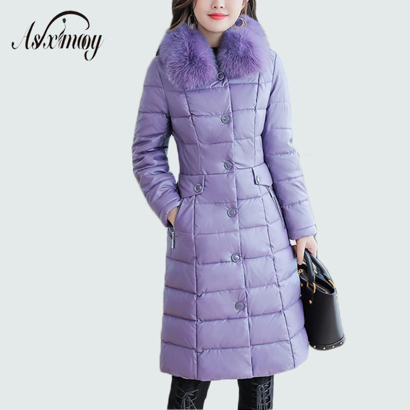 Plus Size Faux Fur Collar Leather Jackets Women Slim Long Warm Down Fur Coat Elegant Top Quality Manteau Femme Hiver 5xl 2018