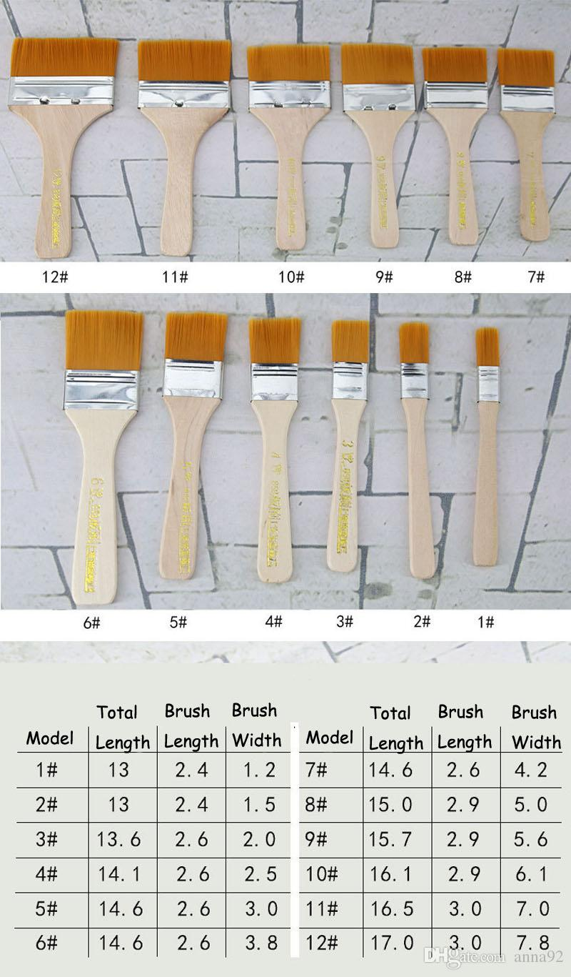 Nylon Hair Painting Brush Oil Watercolor Water Powder Propylene Acrylic Differeent Size Paint Brushes School Art Supply free shipping 2018