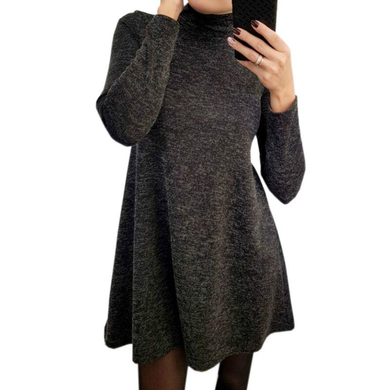 A-Line Long Sleeve Dress Autumn Winter Turtleneck Loose Solid Dresses Girls Mini Dress Femme Plus Size Dress GV160