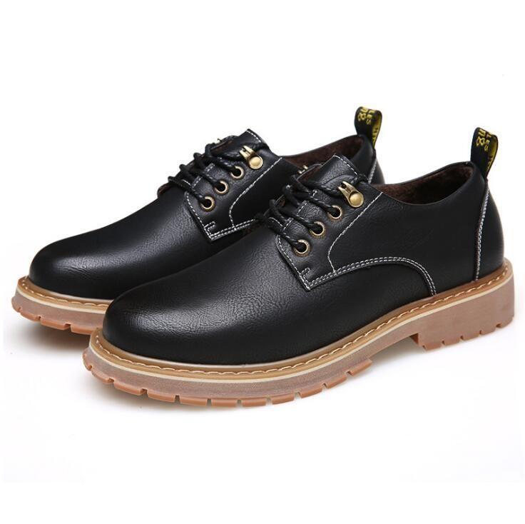 Мужчины Осень Зима Сапоги Повседневная Натуральная Кожа Мужчины Ботильоны Черные Мужские Оксфорды Римские Сапоги Мужская Обувь