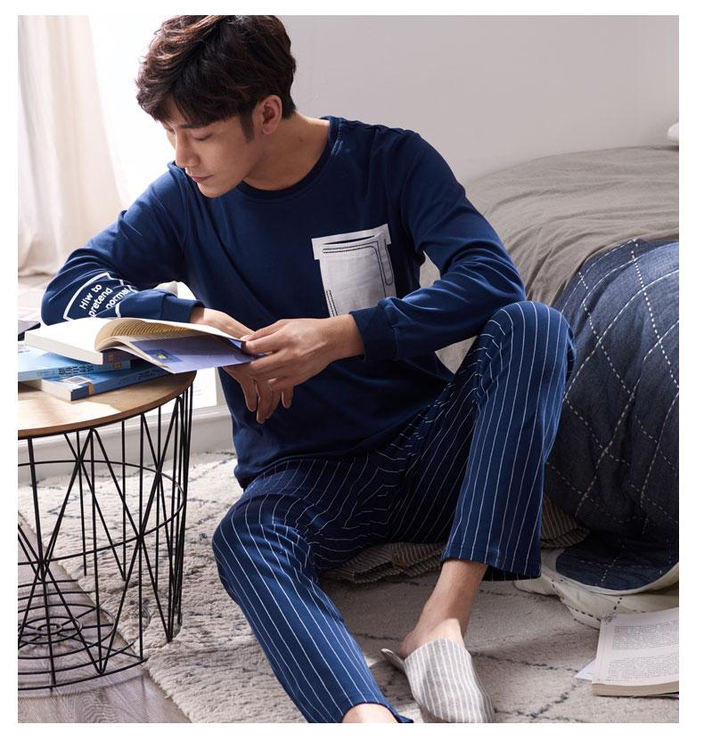 Großhandel Herbst 100% Baumwolle Herren Pyjamas Paar Pyjamas Set Lässige  Nachtwäsche Maskulin Pyjamas Nachthemden Größe 3XL Home Kleidung Von  Odelettu c577e8cae