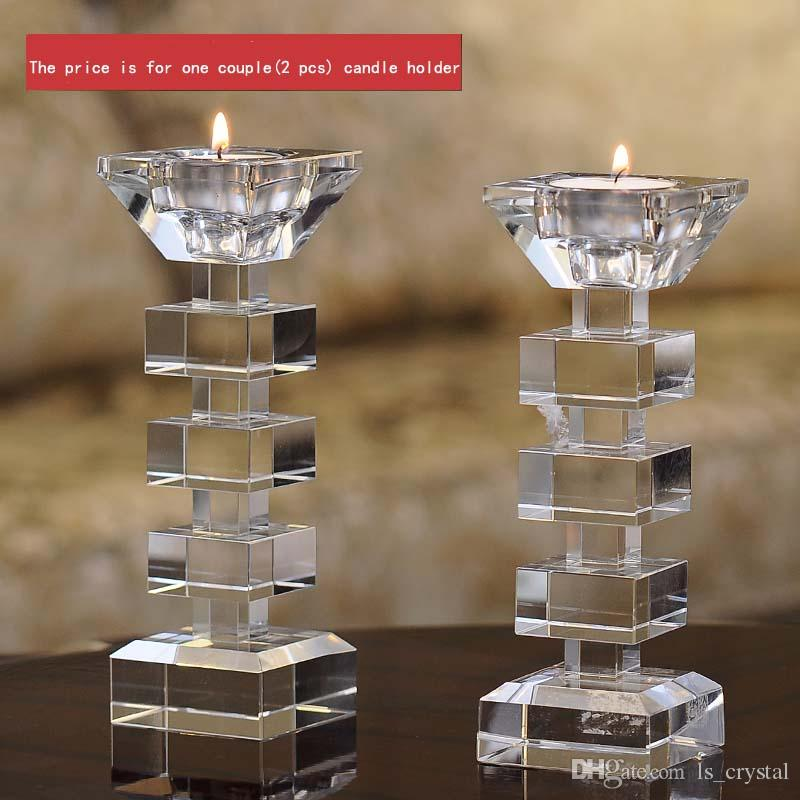 Elegant Clear Crystal Candle Stand Candlestick Holder Glass Tealight Holder for Stick and Tealight Dinner Decor DEC176