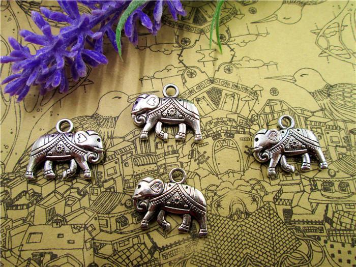 30Pcs Elefanti - Anelli / pendenti in elefante tibetano in argento anticato 25x21mm