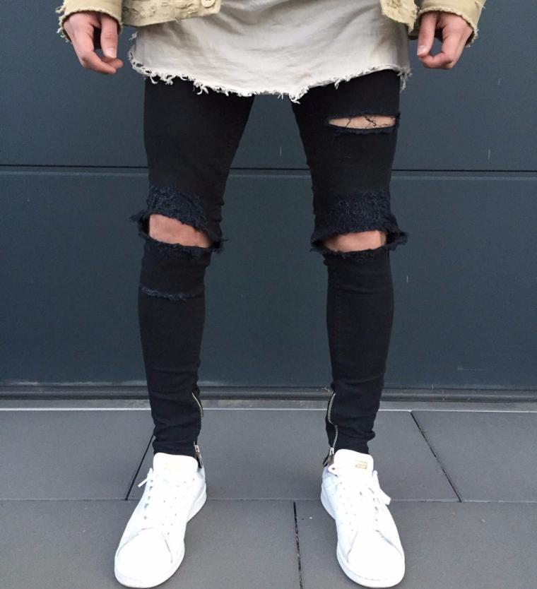 Jeans vintage en denim déchiré à la coupe décontractée pour hommes